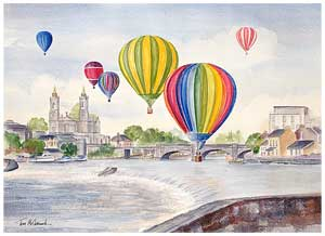 Balloons over Athlone :: Hot Air Balloons flying over the River Shannon