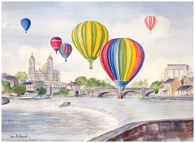 Balloons over Athlone :: Balloons flying over the River Shannon at Athlone